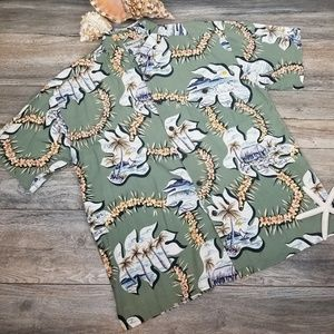 Vintage Robert Stock Hawaiian shirt MCM print Sz L